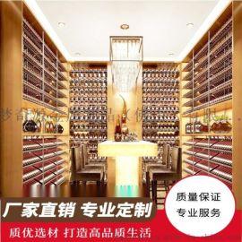 别墅酒窖 复古酒柜 红酒柜台 地下室整体酒窖定制