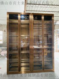 隐形拉丝不锈钢红酒柜 拉丝玫瑰金酒柜定制 恒温酒柜