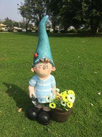 树脂卡通尖帽小孩雕塑工艺品 户外园林景观装饰品摆件