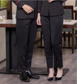 廚房廚師工作褲男酒店服務員保潔褲子女彈力鬆緊腰黑色寬鬆休閒褲