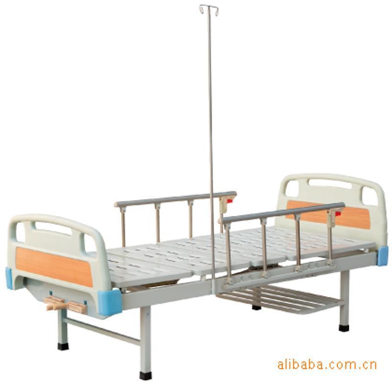 生产供应医用病床XX-C3(双摇床,ABS床头床尾,铝合金护栏)