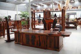 船木现代办公台套装 现代时尚船木办公家具