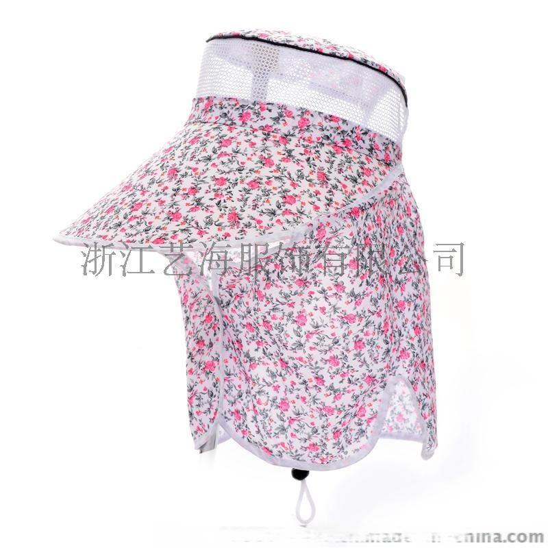 夏日韓版女式大碎花仿棉磨毛採茶帽防曬防紫外線太陽帽帽子批發