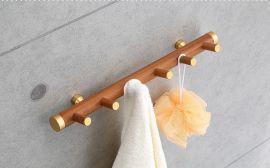 店長推薦浴室壁掛衣帽鉤生態木質毛巾掛鉤浴室浴巾架保證100%正品