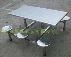 东莞学生食堂6人位不锈钢连体餐桌椅