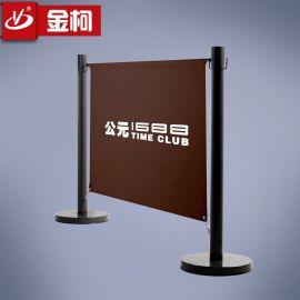 定制广告布栏杆座 机场广告围栏 咖啡店隔离栏 厂家直销