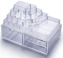 亚克力水晶透明化妆品收纳盒订制  欧式多层带抽屉首饰展示盒批发厂家 大号化妆品盒