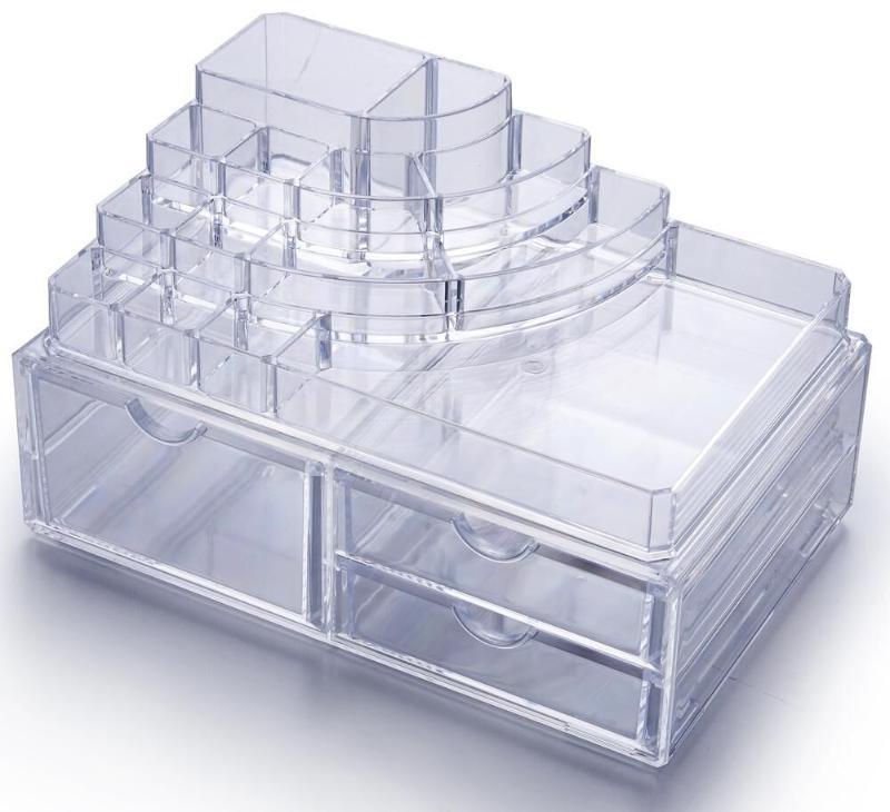 亞克力水晶透明化妝品收納盒訂製  歐式多層帶抽屜首飾展示盒批發廠家 大號化妝品盒