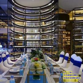 定做加工酒莊 酒窖不鏽鋼展示架 定制紅酒櫃 餐廳酒吧恆溫酒架