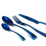 kaya不鏽鋼刀叉西餐食具電鍍食具藍色經典刀叉禮品刀叉,