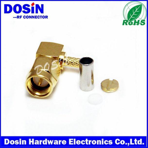 德索/DOSIN-806-0022SMA90度**射频连接器,90度SMA镀金天线母头,接RG174/316/179SMA