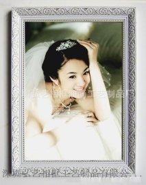 厂家直销 实木画框 欧式古典 婚纱影楼相框 白金色花纹 木制相框