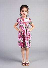 VTK2017夏季**新款连衣裙3-10岁玫瑰印花短袖连衣裙
