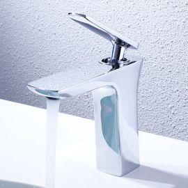 綺美斯酒店浴室洗手間全銅單孔冷熱水面盆洗手檯龍頭洗臉盆水龍頭套裝