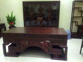 西安仿古实木办公桌、红木办公台、中式老榆木办公桌