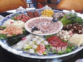 生产饭店特大装菜专用海鲜大盘子、一米直径超大瓷盘