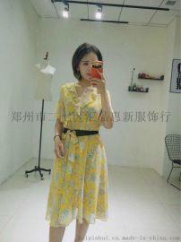 夏裝新款女裝雪紡連衣裙喇叭袖印花顯瘦長裙
