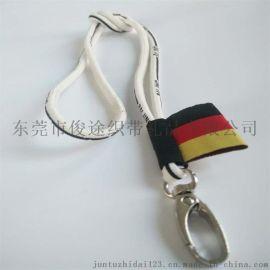 浙江客定做带金属狗扣的白色圆绳挂带做厂牌带用