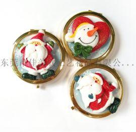 圣诞节翻盖金属小镜子圆形圣诞老人化妆镜定制LOGO