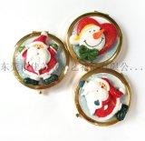 耶誕節翻蓋金屬小鏡子圓形聖誕老人化妝鏡定製LOGO