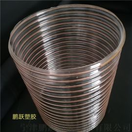pu聚氨酯软管耐高温镀铜钢丝通风除尘波纹管