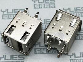 501-USB连接器 母座双层180度无弹