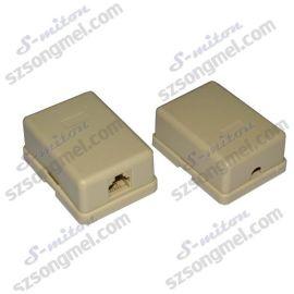 松美通销售高品质电话配件转接头接线盒 /RJ11-6P4C 单口接线盒