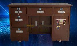 商用带保险柜的收银办公桌订购 老板办公桌保险桌 自带报警功能