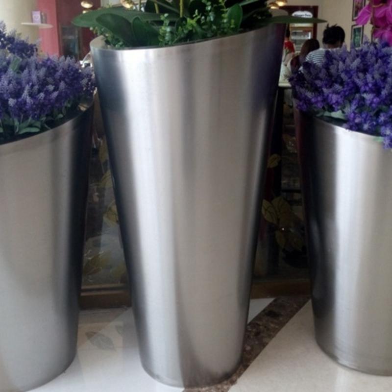 不锈钢组合式花盆商场不锈钢装饰花盆室内不锈钢花钵园林景观花盆