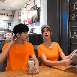 班服男式纯色T恤棉文化广告衫定制 空白圆领短袖工作服印logo批发