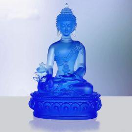 琉璃药师佛佛像定做,古法脱蜡琉璃,深圳琉璃生产厂家