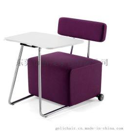 带写字板沙发椅 酒店单人布艺沙发椅带大手写板
