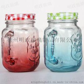 复古公鸡杯渐变色带把手玻璃杯奶茶杯韩国带盖吸管杯成人饮品杯子