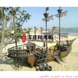 防腐木海盗船 木质景观工程亮化船厂家