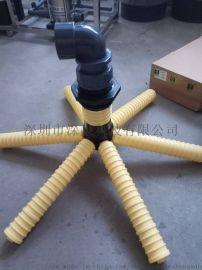 树脂桶法兰布水器上下集散六爪八爪布水器黑二通
