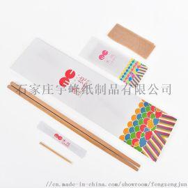 木纯一次性筷子套装24cm碳化竹筷湿巾牙签三件套