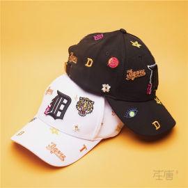 在唐定制棒球帽 老虎头棒球帽 logo刺绣棒球帽