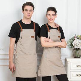 服务员工作围裙咖啡厅餐厅网咖服务员背带围裙  带帆布围裙定制