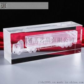 物流公司礼品 车模 水晶大楼模型摆件 开业纪念品