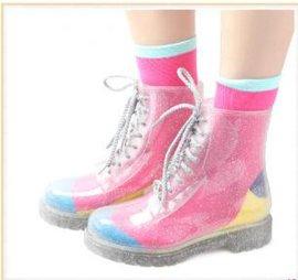 筱丹丹祥 时尚透明水晶闪粉马丁雨鞋防滑系带水鞋马丁雨靴