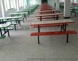 食堂不锈钢8人连体餐桌椅
