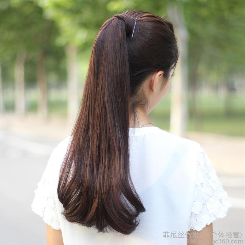 菲尼丝假发女士微卷内扣梨花假发马尾 逼真魔术贴卷马尾 蓬松大发量马尾辫
