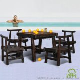 茶树木炭烧户外实木餐桌椅 休闲桌椅不含伞