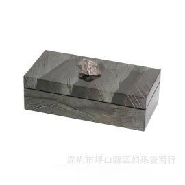 深色羽毛方形木制首饰收纳盒样板间摆件欧式现代简约样板间摆件