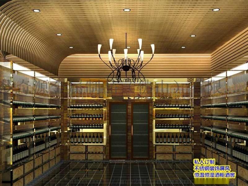 厂家直供不锈钢恒温酒柜 别墅酒吧红酒架 展示柜