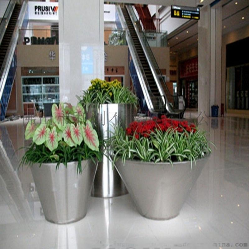 不锈钢落地组合花盆户外绿植花卉大花钵可定制