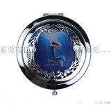 化妝鏡定制圓形折疊隨身鏡貼紙美人魚圖案環保廣告鏡子