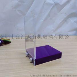 定制亚克力展示架L型透明展示台有机玻璃宣传架紫色L型标牌