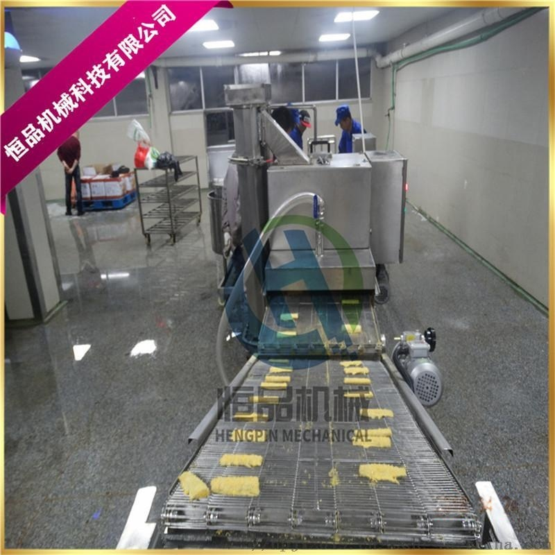 竹夹鱼排上糠机-竹夹鱼排上浆裹糠生产线现货试机