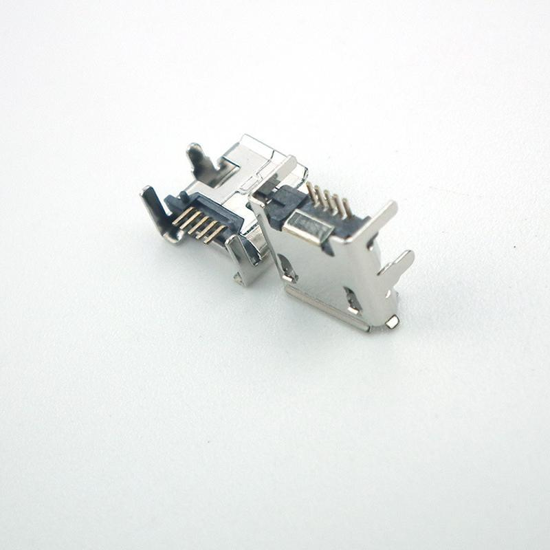 Micro USB 5S B型插座母座四腳插板7.2mm前插後貼加長針焊腳卷邊